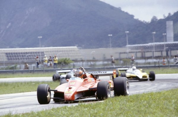 1982 Brazilian Grand Prix.Rio de Janeiro, Brazil. 19-21 March 1982.Gilles Villeneuve (Ferrari 126C2) leads Rene Arnoux (Renault RE30B) and Nelson Piquet (Brabham BT49D-Ford Cosworth).World Copyright: LAT PhotographicRef: 35mm transparency 82BRA01