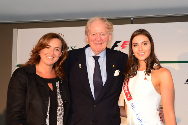 (L to R): Deb Hallmark (AUS) Executive Director Royal Childrens Hospital Good Friday Appeal, Ron Walker (AUS) Chairman of the Australian GP Corporation and Miss Universe Australia Olivia Wells (AUS). 2014 Formula 1 Rolex Australian Grand Prix Media Launch, Carousel, Albert Park, Melbourne, Australia, 3 February 2014.