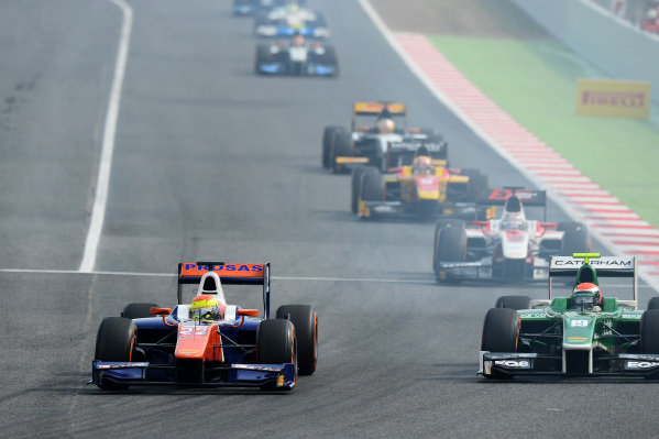Axcil Jefferies (ZIM) Trident and Alexander Rossi (USA) EQ8 Caterham Racing. GP2 Series, Rd2, Barcelona, Spain, 9-11 May 2014.