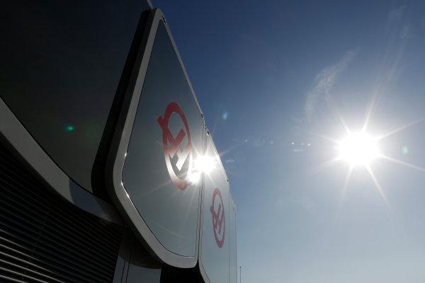 Circuit de Barcelona Catalunya, Barcelona, Spain. Friday 10 March 2017. Haas logos on the team's motorhome. World Copyright: Glenn Dunbar/LAT Images ref: Digital Image _X4I6910