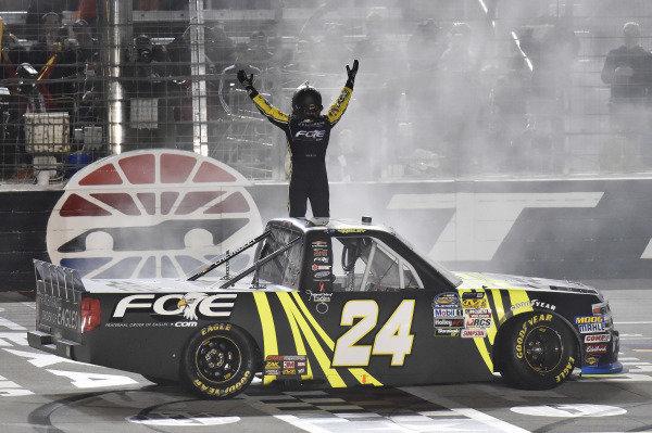 #24: Justin Haley, GMS Racing, Chevrolet Silverado Fraternal Order Of Eagles celebrates his win