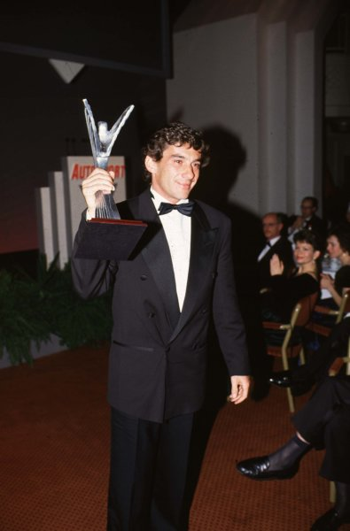 1991 Autosport Awards, Grosvenor House Hotel, Park Lane, London, Great Britain.Ayrton Senna with the International Racing Driver of the Year award.Ref-S1A 04.World - LAT Photographic