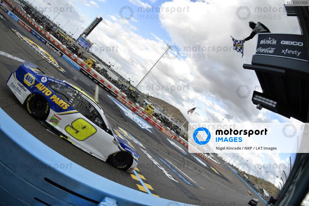 #9: Chase Elliott, Hendrick Motorsports, Chevrolet Camaro NAPA Auto Parts takes the checkers and the Championship