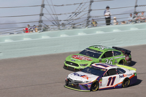 #11: Denny Hamlin, Joe Gibbs Racing, Toyota Camry FedEx Express #36: John Hunter Nemechek, Front Row Motorsports, Ford Mustang Speedy Cash
