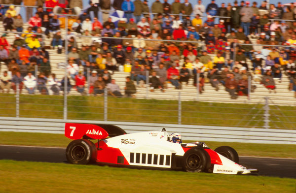 Nurburgring, Germany.5-7 October 1984.Alain Prost (McLaren MP4\2 TAG Porsche) 1st position.Ref-84 EUR 12.World Copyright - LAT Photographic