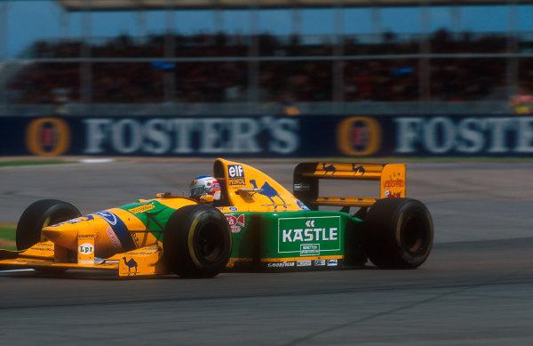 1993 British Grand Prix.Silverstone, England.9-11 July 1993.Michael Schumacher (Benetton B193B Ford) 2nd position.Ref-93 GB 20.World Copyright - LAT Photographic