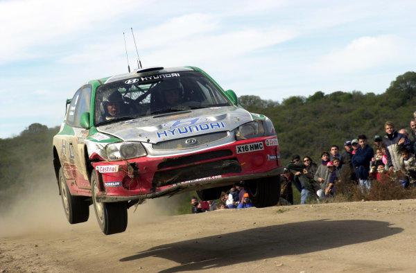 2001 World Rally Championship. ArgentinaMay 3rd-6th, 2001Kenneth Eriksson jumps on stage 13.Photo: Ralph Hardwick/LAT