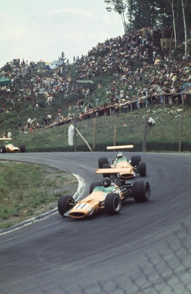 1968 Canadian Grand Prix.Mont-Tremblant, (St. Jovite), Quebec, Canada.20-22 September 1968.Dan Gurney leads Denny Hulme and Bruce McLaren (all McLaren M7A Ford). Hulme and McLaren finished in 1st and 2nd positions respectively.Ref-68 CAN 14.World Copyright - LAT Photographic