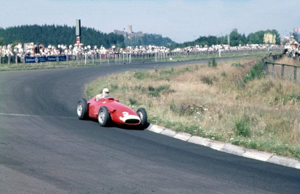 1957 German Grand Prix.Nurburgring, Germany.2-4 August 1957.Harry Schell (Maserati 250F) 7th position.Ref-57 GER 03.World Copyright - LAT Photographic