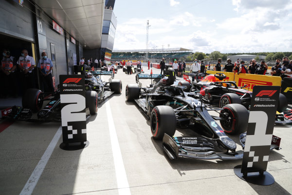 The cars of pole position winner Lewis Hamilton, Mercedes F1 W11 EQ Performance, Valtteri Bottas, Mercedes F1 W11 EQ Performance and Max Verstappen, Red Bull Racing RB16 in parc ferme