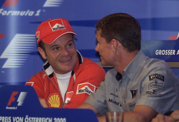 2000 Austrian Grand Prix.A1-Ring, Zeltweg, Austria.14-16 July 2000.Rubens Barrichello (Ferrari) with David Coulthard (McLaren Mercedes) in a press conference.World Copyright - Etherington/LAT Photographic