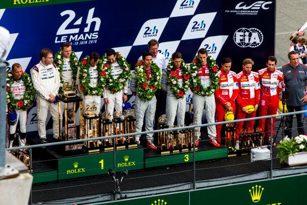 2016 Le Mans 24 Hours. Circuit de la Sarthe, Le Mans, France. Sunday 19 June 2016. Porsche Team / Porsche 919 Hybrid - Romain Dumas (FRA), Neel Jani (CHE), Marc Lieb (DEU), Toyota Gazoo Racing / Toyota TS050 - Hybrid - Stephane Sarrazin (FRA), Michael Conway (GBR), Kamui Kobayashi (JPN), Audi Sport Team Joest / Audi R18 - Lucas Di Grassi (BRA), Loic Duval (FRA), Oliver Jarvis (GBR), Rebellion Racing / Rebellion R-One-AER - Nicolas Prost (FRA), Nick Heidfeld (DEU), Nelson Piquet (NLD).  World Copyright: Zak Mauger/LAT Photographic ref: Digital Image _79P9148