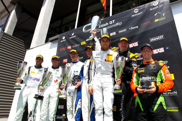 2016 British GT Championship, Spa-Francorchamps, Belgium. 8th - 9th July 2016. GT3 Podium (l-r) Rick Parfitt Jnr / Seb Morris Team Parker Racing Bentley Conitnental GT3, Mark Farmer / Jon Barnes TF Sport Aston Martin GT3, Oliver Morley / Dani Juncadella Black Falcon Mercedes-AMG GT3, Alexander Sims Barwell Motorsport Lamborghini Hurracan GT3. World Copyright: Ebrey / LAT Photographic.