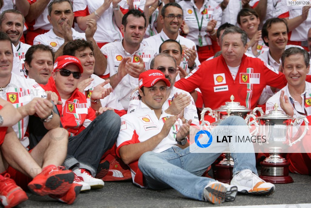 2007 French Grand Prix - Sunday RaceCircuit de Nevers Magny Cours, Nevers, France.1st July 2007.Kimi Raikkonen and Felipe Massa celebrate a Ferrari 1-2 with Jean Todt and the team.World Copyright: Andrew Ferraro/LAT Photographicref: Digital Image VY9E3446