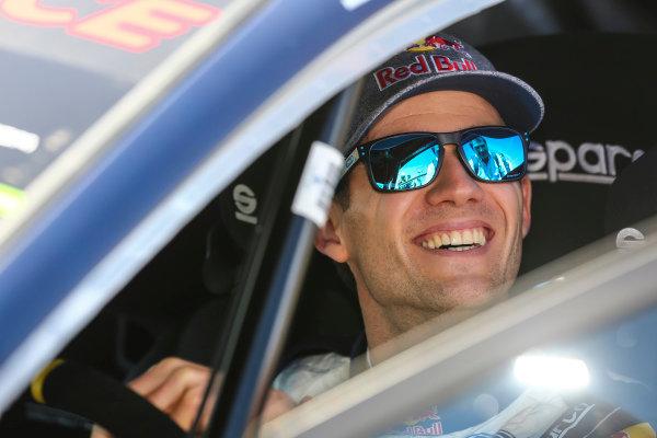 All smiles for Sebastien Ogier on the 2018 Tour de Corse rally.