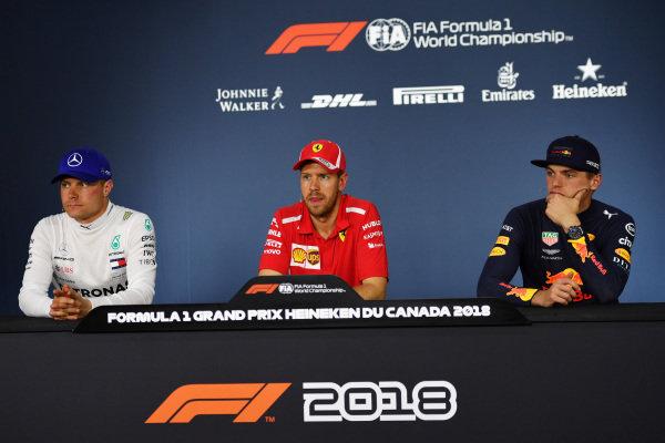 (L to R): Valtteri Bottas (FIN) Mercedes-AMG F1, Sebastian Vettel (GER) Ferrari and Max Verstappen (NED) Red Bull Racing in the Press Conference