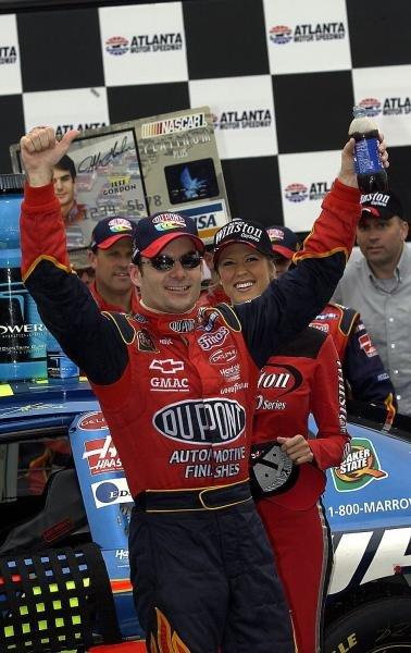 Jeff Gordon (USA) celebrates winning his 3rd race of the season in victory lane.Nascar Winston Cup, Rd33, Bass Pro Shops 500, Atlanta, (USA), 27 October 2003.DIGITAL IMAGE