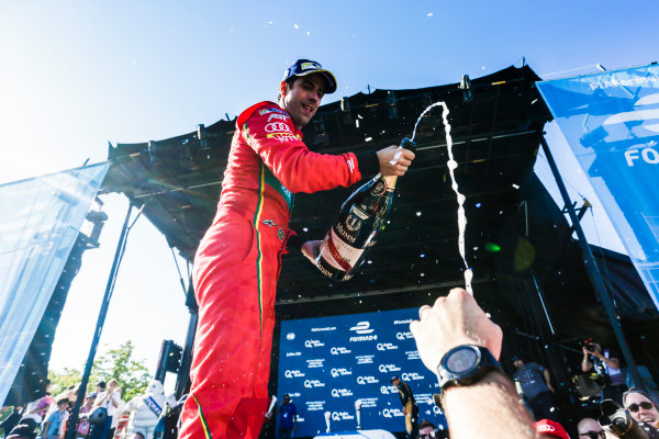 2016/2017 FIA Formula E Championship. Round 11 - Montreal ePrix, Canada Saturday 29 July 2017. Lucas Di Grassi (BRA), ABT Schaeffler Audi Sport, Spark-Abt Sportsline, ABT Schaeffler FE02 celebrates on the podium. Photo: Andrew Ferraro/LAT/Formula E ref: Digital Image _FER4554