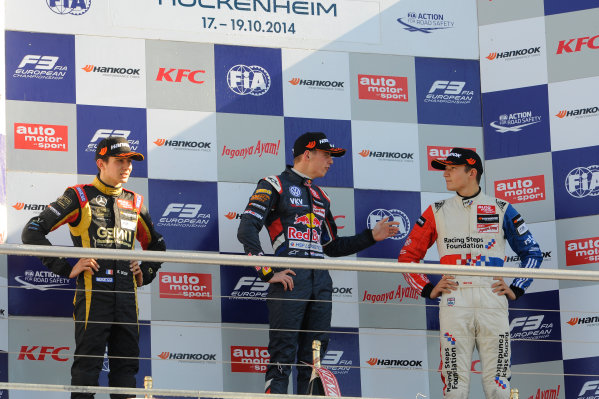 2014 FIA European F3 Championship Round 11 - Hockenheim, Germany 17th - 19th October 2014 podium, rookies, Esteban Ocon (FRA) Prema Powerteam Dallara F312 Mercedes, Max Verstappen (NED) VAN AMERSFOORT RACING Dallara F312 Volkswagen, Jake Dennis (GBR) CARLIN Dallara F312 Volkswagen World Copyright: XPB Images / LAT Photographic  ref: Digital Image 3353801_HiRes