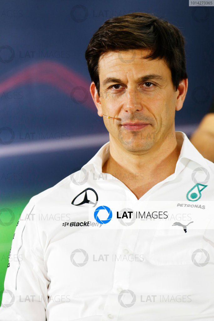 Yas Marina Circuit, Abu Dhabi, United Arab Emirates. Friday 21 November 2014. Toto Wolff, Executive Director (Business), Mercedes AMG, in the team principals Press Conference. World Copyright: Alastair Staley/LAT Photographic. ref: Digital Image _79P8855