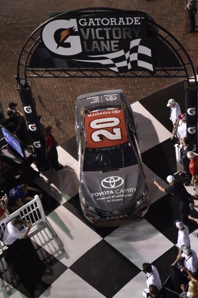#20: Erik Jones, Joe Gibbs Racing, Toyota Camry buyatoyota.com, pulls into victory lane.