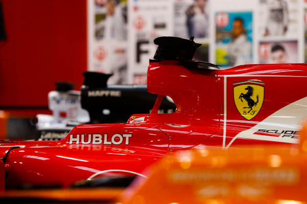 Autosport International Exhibition. National Exhibition Centre, Birmingham, UK. Thursday 11th January 2017. A McLaren, Ferrari and Renault on the F1 Racing Stand. World Copyright: Joe Portlock/LAT Images Ref: _U9I8304