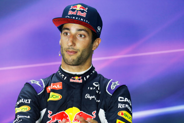 Hungaroring, Budapest, Hungary. Sunday 26 July 2015. Daniel Ricciardo, Red Bull Racing, 3rd Position, in the Press Conference. World Copyright: Alastair Staley/LAT Photographic ref: Digital Image _R6T9450