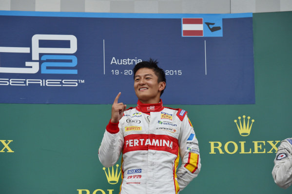 Race 2 winner Rio Haryanto (INA) Trident celebrates on the podium at GP2 Series, Rd4, Spielberg, Austria, 19-21 June 2015.