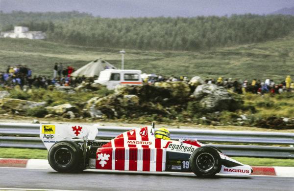 1984 Portuguese Grand Prix. Estoril, Portugal. 19th - 21st October 1984. Ayrton Senna (Toleman TG184 Hart), 3rd position, action.  World Copyright: LAT Photographic.  Ref:  84POR