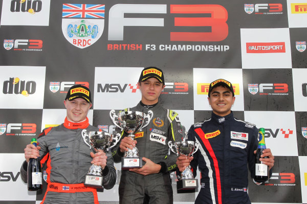 2016 BRDC British Formula 3 Championship, Snetterton, Norfolk. 27th - 28th March 2016. Race 1 Podium (l-r) Aleksanteri Huovinen (FIN) Double R Racing BRDC F3, Lando Norris (GBR) Carlin BRDC F4 and Enaam Ahmed (GBR) Douglas Motorsport BRDC F3. World Copyright: Ebrey / LAT Photographic.