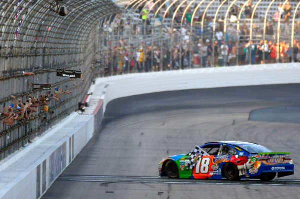 Monster Energy NASCAR Cup Series ISM Connect 300 New Hampshire Motor Speedway Loudon, NH USA Sunday 24 September 2017 Kyle Busch, Joe Gibbs Racing, M&M's Caramel Toyota Camry celebrates his win World Copyright: Nigel Kinrade LAT Images