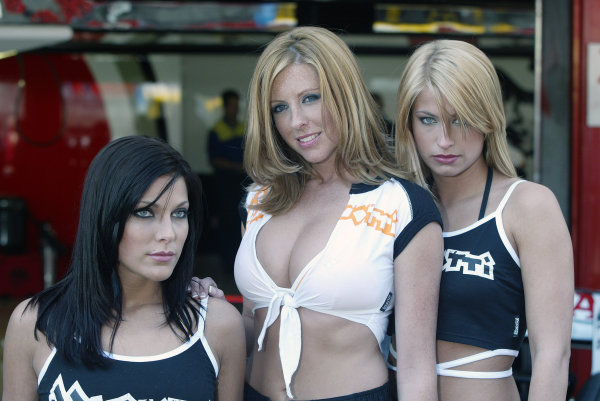 2004 Spanish Grand Prix - Thursday,Barcelona, Spain. 6th May 2004 The Brunotti Babes with BAR's new 'radical' livery for Anthony Davidson's car.World Copyright: Steve Etherington/LAT Photographic ref: Digital Image Only