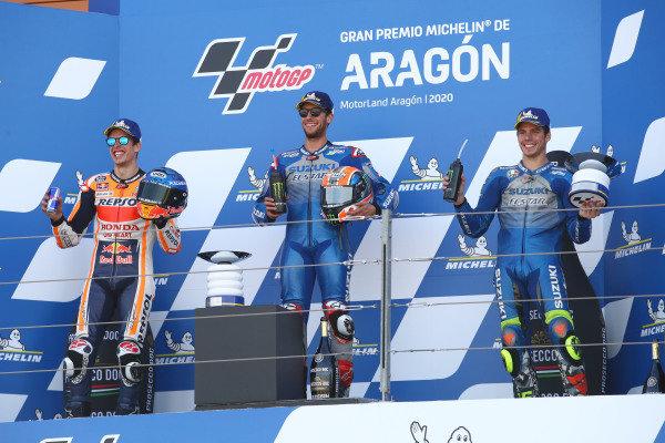 Race winner Alex Rins, Team Suzuki MotoGP, second place Alex Marquez, Repsol Honda Team, third place Joan Mir, Team Suzuki MotoGP.