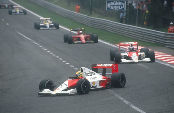 1990 Belgian Grand Prix.Spa-Francorchamps, Belgium.24-26 August 1990.Ayrton Senna leads teammate Gerhard Berger (both McLaren MP4/5B Honda's), Alain Prost (Ferrari 641), Thierry Boutsen, Riccardo Patrese (both Williams FW13B Renault's) and Alessandro Nannini (Benetton B190 Ford) early on in the race.Ref-90 BEL 04.World Copyright - LAT Photographic