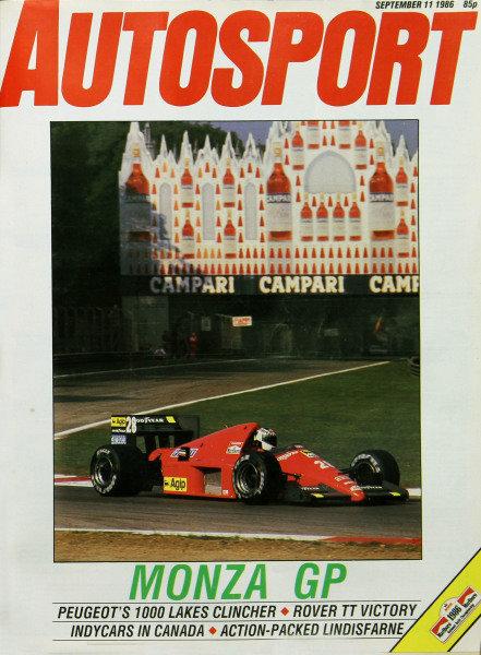 Cover of Autosport magazine, 11th September 1986