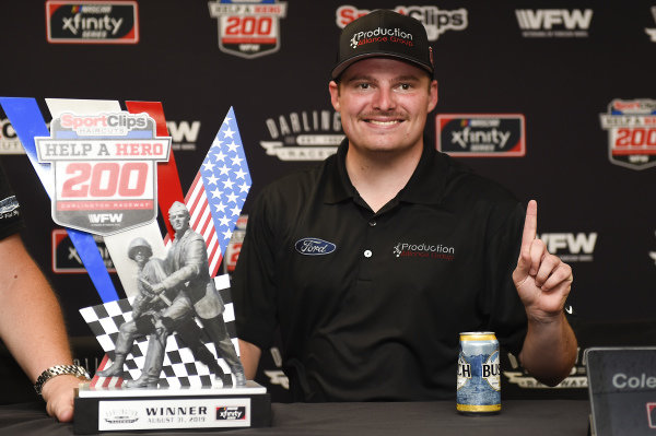 #00: Cole Custer, Stewart-Haas Racing, Ford Mustang Production Alliance Group, celebrates after winning