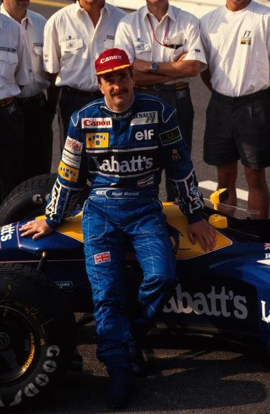Race winner Nigel Mansell.