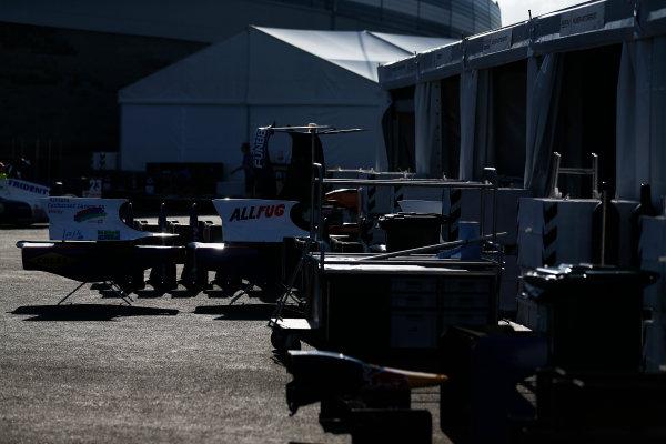 2014 GP3 Series. Round 8.   Sochi Autodrom, Sochi, Russia.  Thursday 9 October 2014. Equipment in the GP3 paddock Photo: Sam Bloxham/GP3 Series Media Service. ref: Digital Image _SBL6097