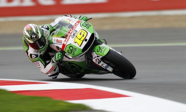 2014 MotoGP Championship  British Grand Prix.  Silverstone, England. 29th - 30st August 2014.  Alvaro Bautista, Gresini Honda.  Ref: _W1_5427. World copyright: Kevin Wood/LAT Photographic