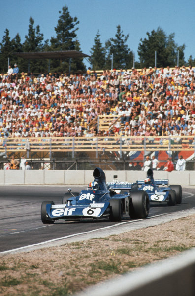 1973 Swedish Grand Prix.  Anderstorp, Sweden. 15-17th June 1973.  Fran?ois Cevert, Tyrrell 006 Ford, 3rd position, leads Jackie Stewart, Tyrrell 006 Ford, 5th position.  Ref: 73SWE26. World Copyright: LAT Photographic