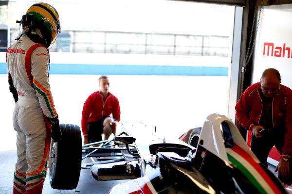 FIA Formula E Test Day, Donington Park, UK.  9th - 10th July 2014.  Bruno Senna, Mahindra Racing. Photo: Glenn Dunbar/FIA Formula E ref: Digital Image _89P3271