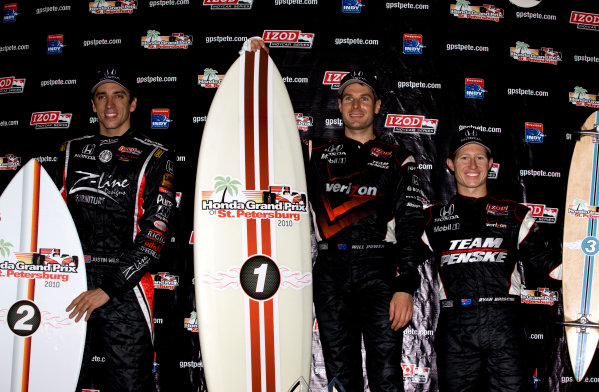 26-28 March, 2010, St. Petersburg, Florida, USAWilson, Power and Briscoe on the podium with skate and surf board trophies©2010, Michael L. Levitt, USALAT Photographic