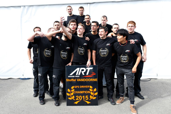 2015 GP2 Series Round 9.  Sochi Autodrom, Sochi, Russia  Sunday 11 October 2015. Stoffel Vandoorne (ART Grand Prix) celebrates winning the GP2 Championship. World Copyright: Alastair Staley/LAT Photographic  ref: Digital Image _R6T1355