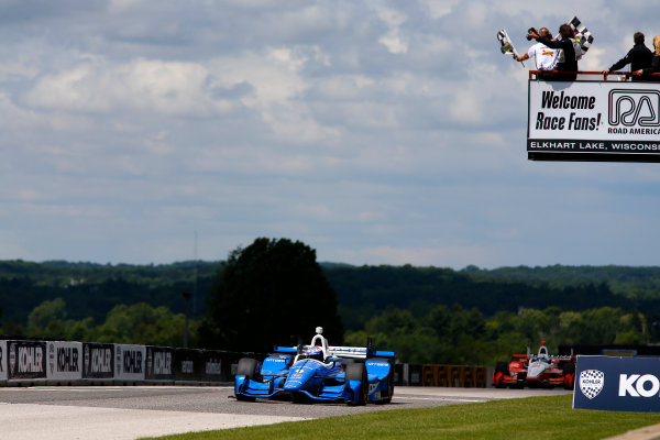 Verizon IndyCar Series Kohler Grand Prix Road America, Elkhart Lake, WI USA Sunday 25 June 2017 Scott Dixon, Chip Ganassi Racing Teams Honda takes the checkered flags World Copyright: Phillip Abbott LAT Images ref: Digital Image abbott_elkhart_0617_8172