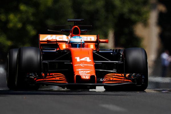 Baku City Circuit, Baku, Azerbaijan. Friday 23 June 2017. Fernando Alonso, McLaren MCL32 Honda.  World Copyright: Glenn Dunbar/LAT Images ref: Digital Image _X4I9329