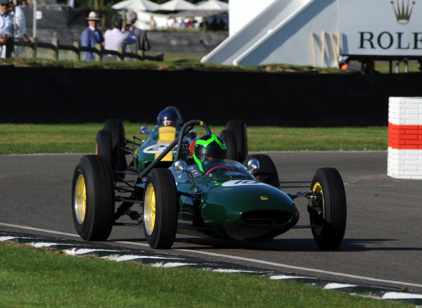 2016 Goodwood Revival Goodwood Estate, West Sussex,England 9th - 11th September 2016 Glover Trophy  Martin Stretton, Lotus-BRM 24, leads Nick Fennell, Lotu-Climax 25. World Copyright : Jeff Bloxham/LAT Photographic Ref : Digital Image