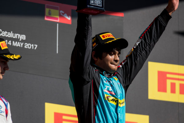 2017 GP3 Series Round 1.  Circuit de Catalunya, Barcelona, Spain. Sunday 14 May 2017. Arjun Maini (IND, Jenzer Motorsport)  Photo: Zak Mauger/GP3 Series Media Service. ref: Digital Image _54I9489