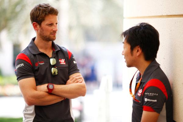 Bahrain International Circuit, Sakhir, Bahrain.  Friday 14 April 2017. Romain Grosjean, Haas F1.  World Copyright: Andy Hone/LAT Images ref: Digital Image _ONZ7303