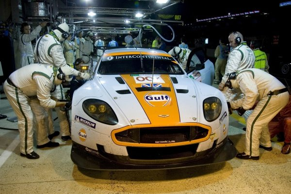 The Aston Martin Racing Aston Martin DBR9 of Heinz-Harald Frentzen (GER) / Andrea Piccini (ITA) / Karl Wendlinger (AUT) in the pits. Le Mans 24 Hours Qualifying, Le Mans, France, 10 June 2008.