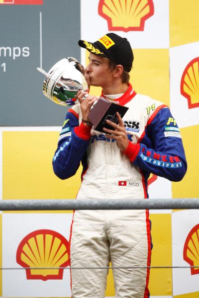Round 7. Spa-Francorchamps, Spa Belgium. 28th August 2011. Sunday Race.  Nico Muller, (SUI, Jenzer Motorsport) on the podium.  Portrait.  Photo: Andrew Ferraro/GP3 Media Service.   ref: Digital Image _Q0C1705